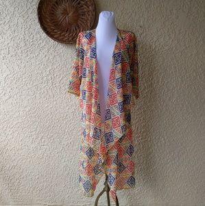 Lularoe kimono geometrical Navajo semi sheer